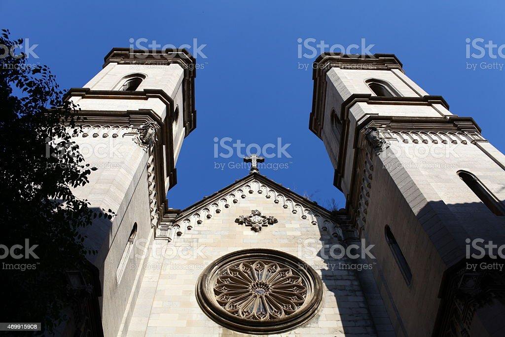 cross on the pediment the Basilica stock photo