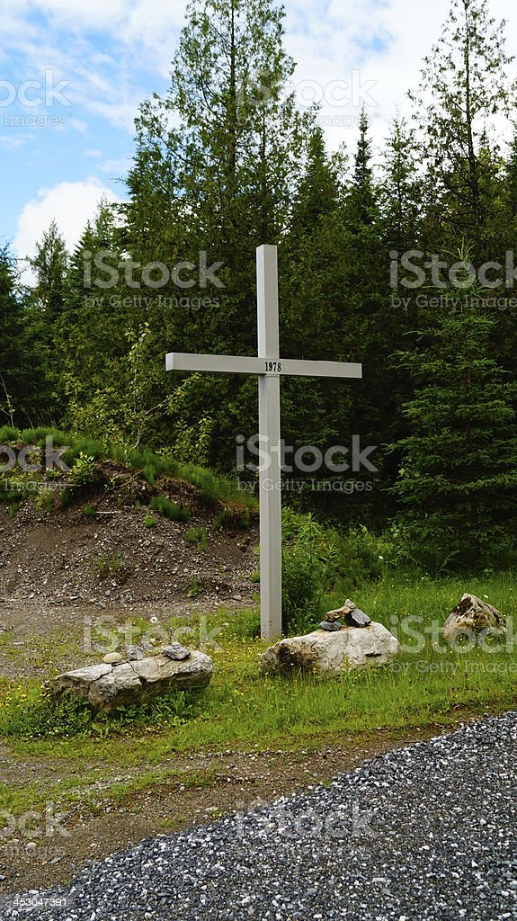 Cross on the road royalty-free stock photo