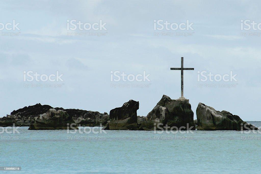 Cross on the rocks royalty-free stock photo