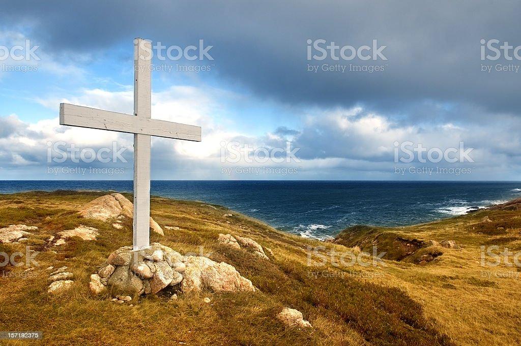 Cross on the Shore stock photo
