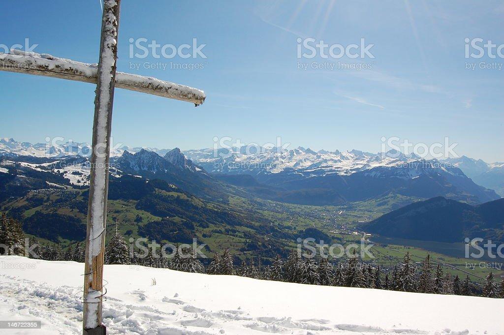 Cross on the summit of Wildspitz royalty-free stock photo