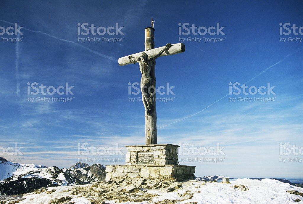Cross on top of mountain royalty-free stock photo