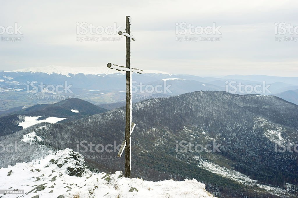 Cross on top of the mountain royalty-free stock photo