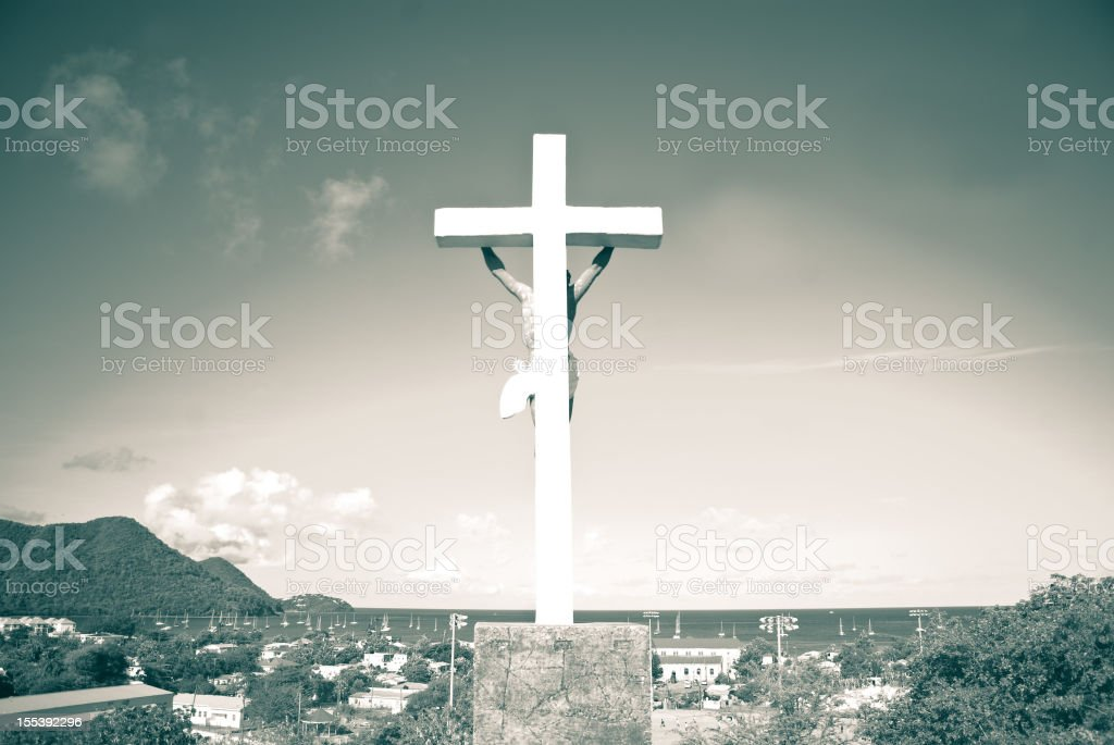 cross or crucifix overlooking Gros Islet town St Lucia stock photo