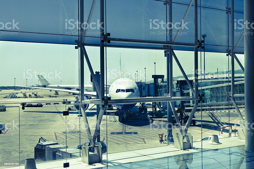 Cross processed modern airport vista royalty-free stock photo