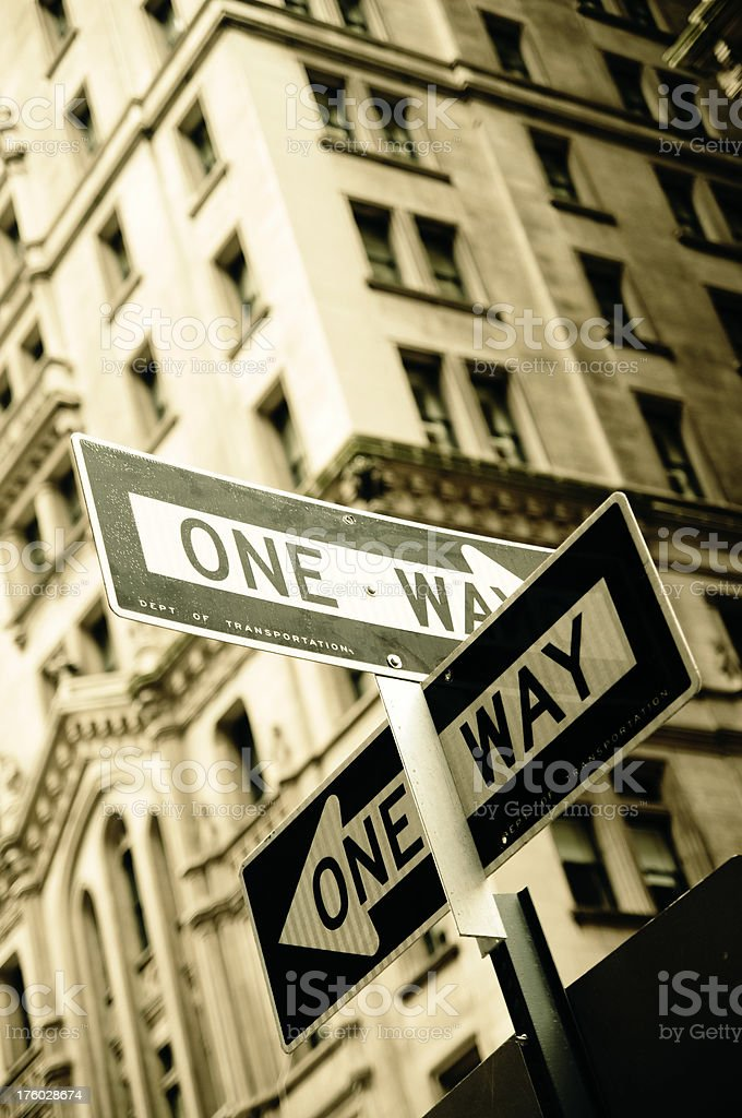 Cross Processed One Way Sign royalty-free stock photo