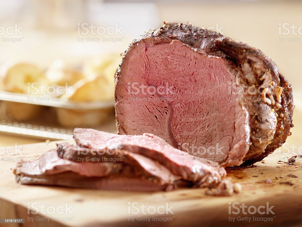 Cross Rib Beef Roast with Yorkshire Puddings stock photo