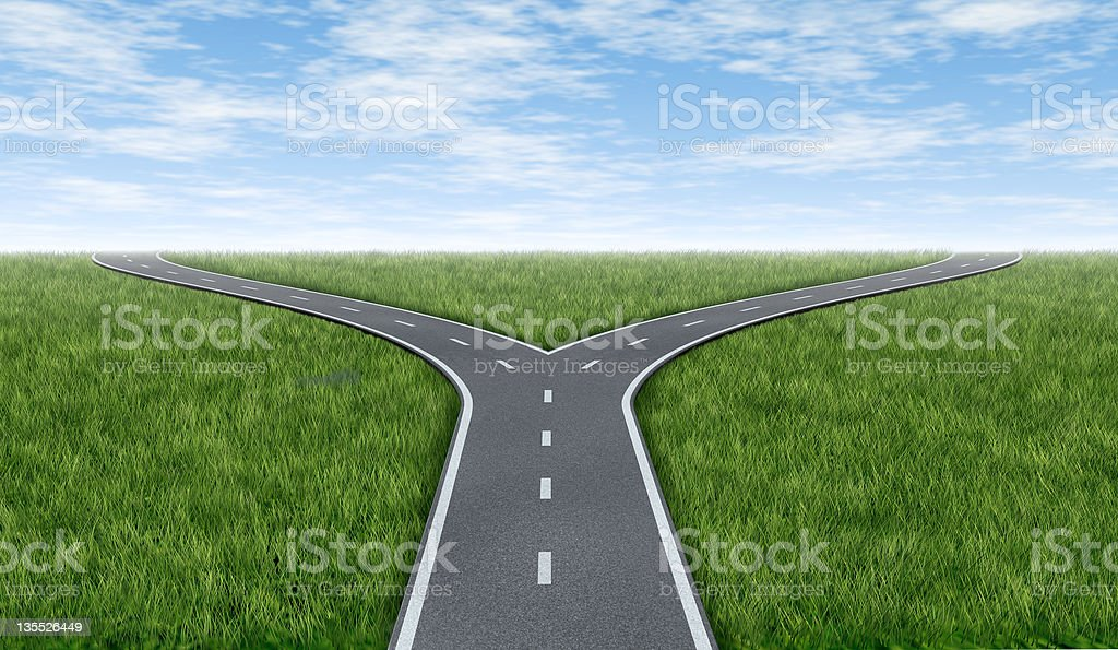 Cross roads horizon stock photo