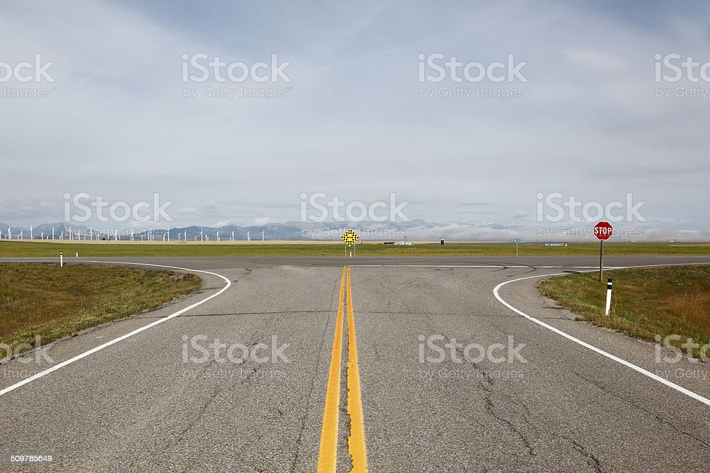 Cross Roads In The Country stock photo