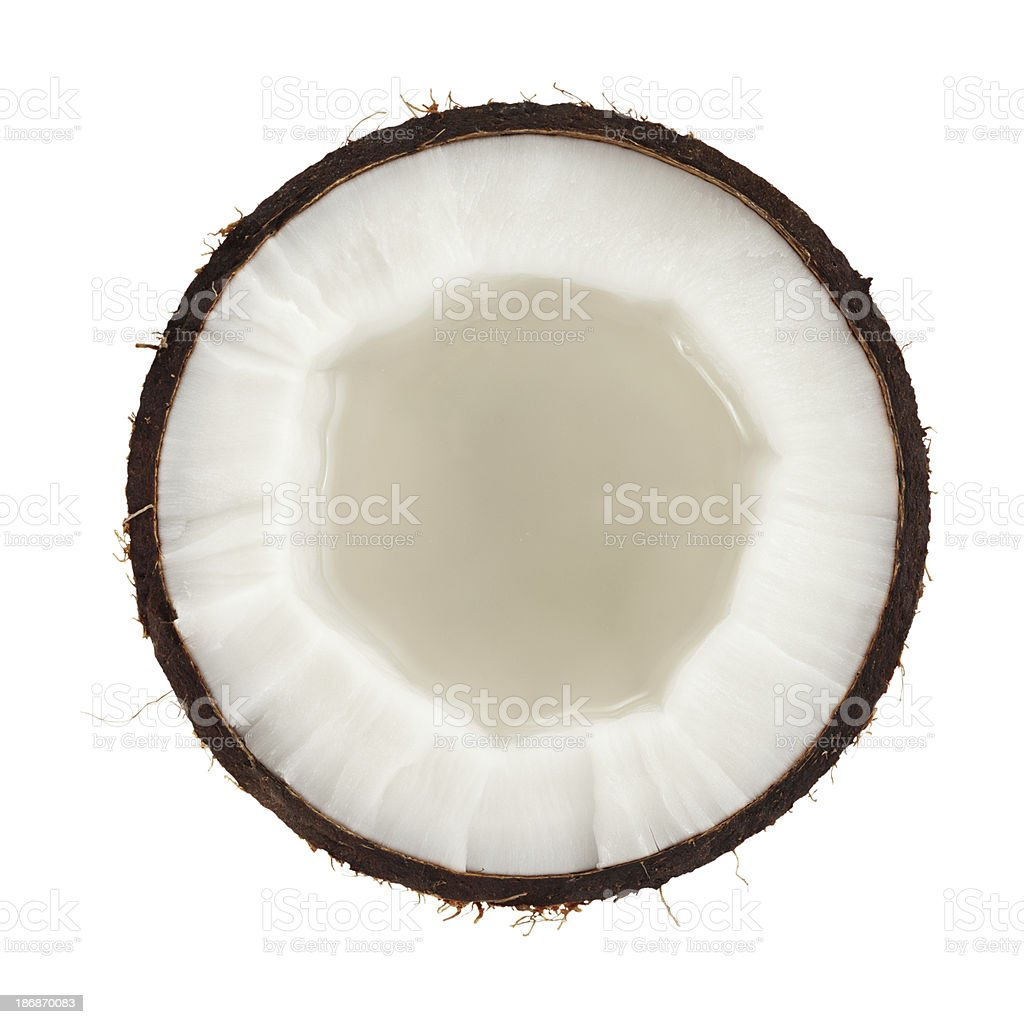 Cross section of a coconut on white background stock photo