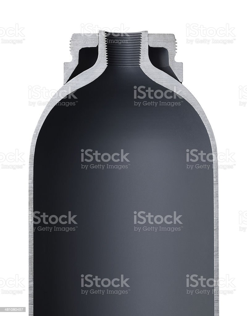 Cross section of a gas cylinder stock photo