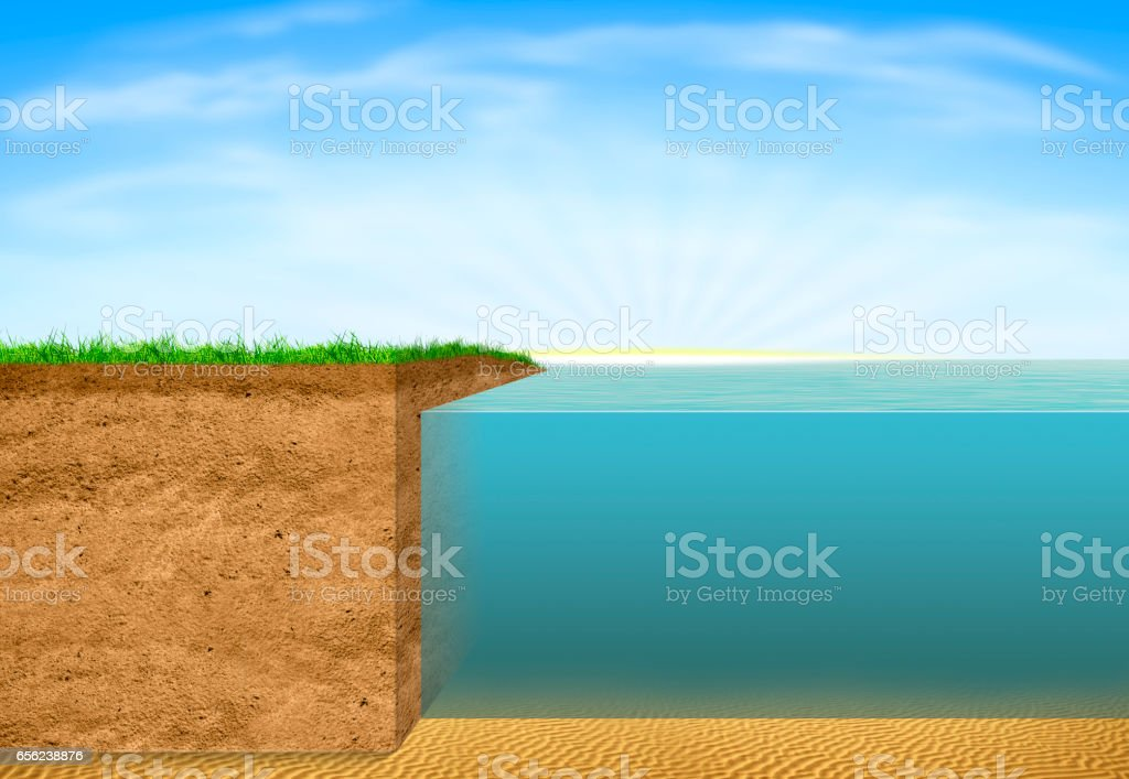 Cross section of Ground and Sea stock photo
