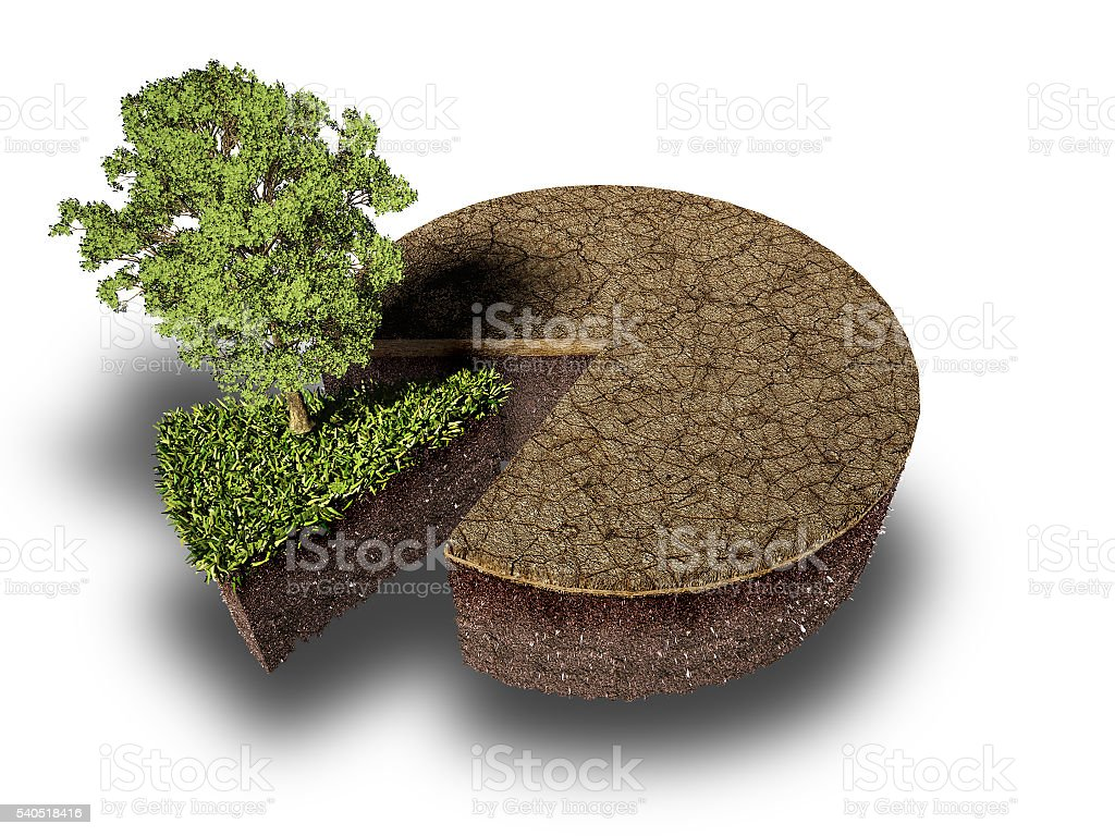 cross section of ground with grass , stock photo