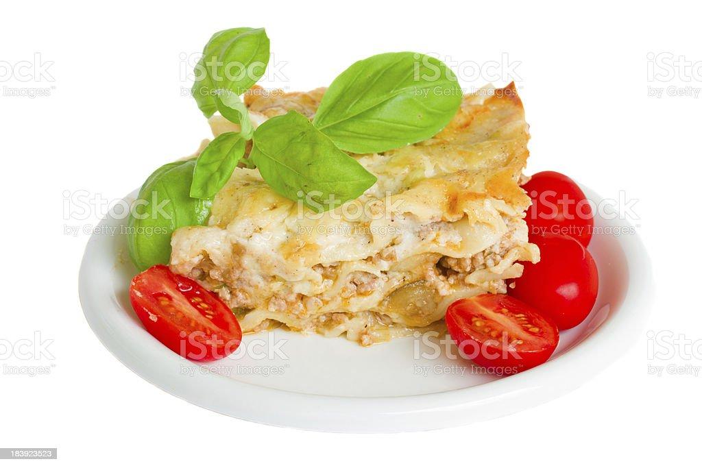 Cross section of lasagna stock photo