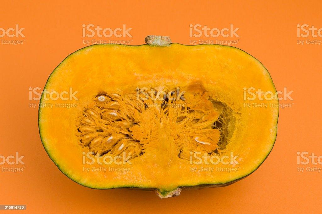 Cross section of pumpkin stock photo