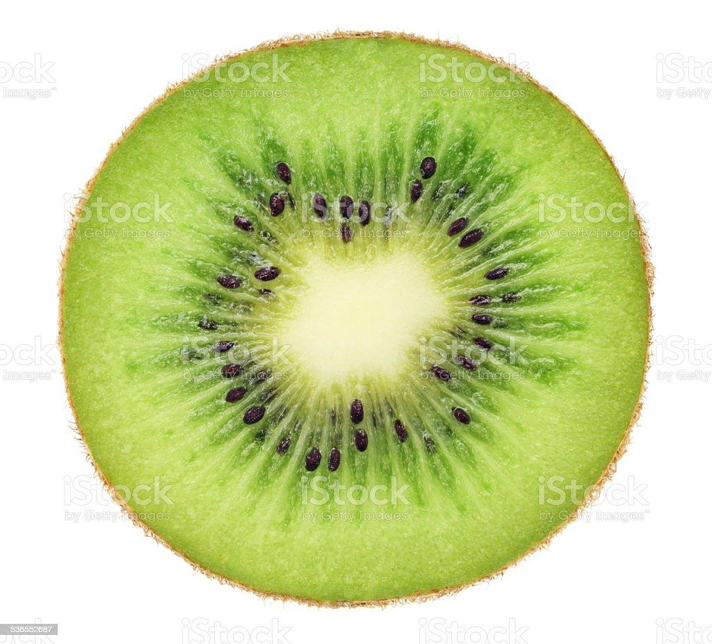 Cross section of ripe kiwi (isolated) stock photo