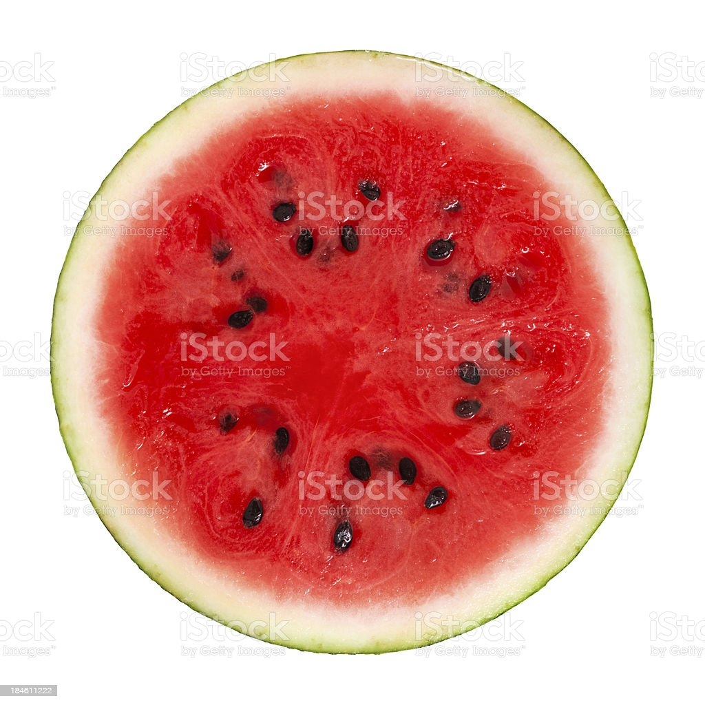Cross section of ripe watermelon with black seeds stock photo