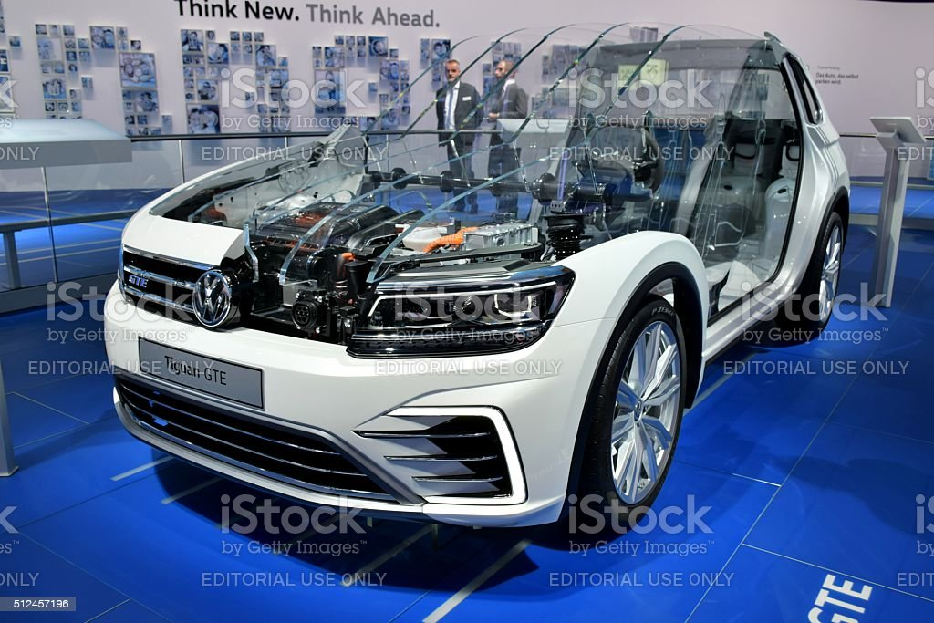 Cross section of Volkswagen hybrid vehicle stock photo