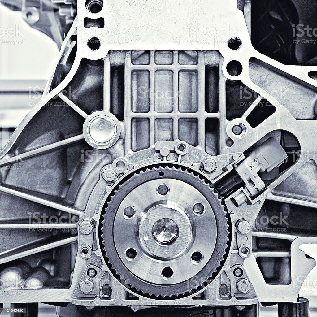 Cross section view of a gear in a car engine stock photo