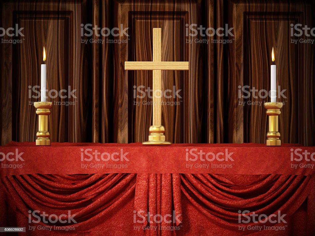 Cross shape and lit candles  on red velvet stock photo