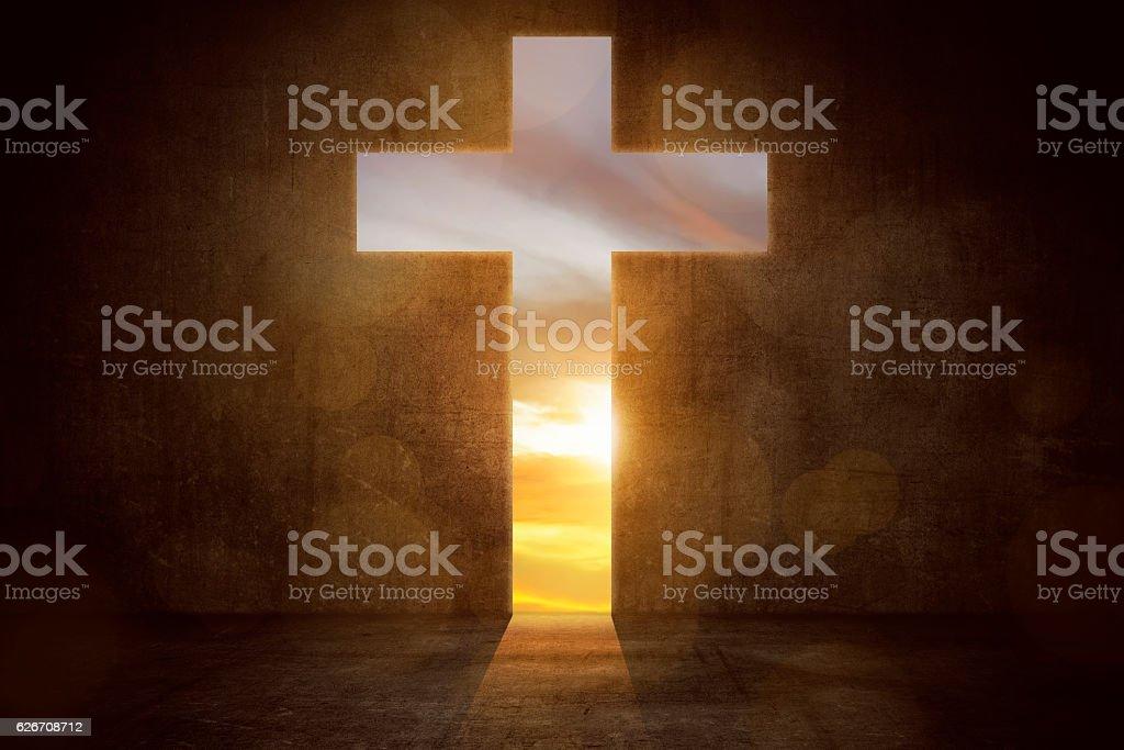 Cross shaping door stock photo