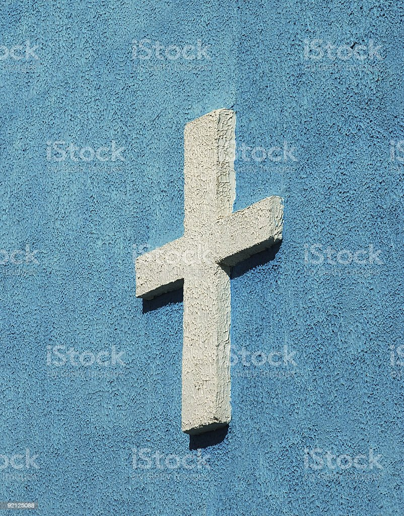 cross sign on the church wall royalty-free stock photo