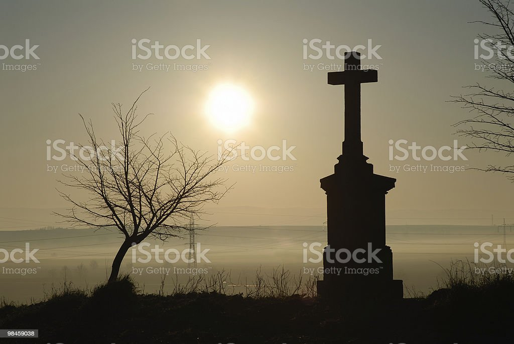 cross silhouette and morning sky royalty-free stock photo