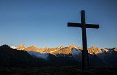 Cross silhouette sunrise