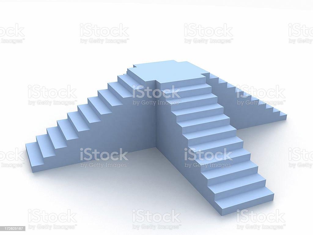 3D cross stairways royalty-free stock photo