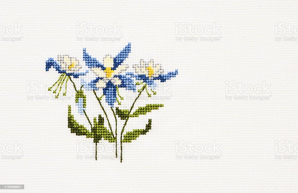 Cross Stitch Columbine Flowers royalty-free stock photo