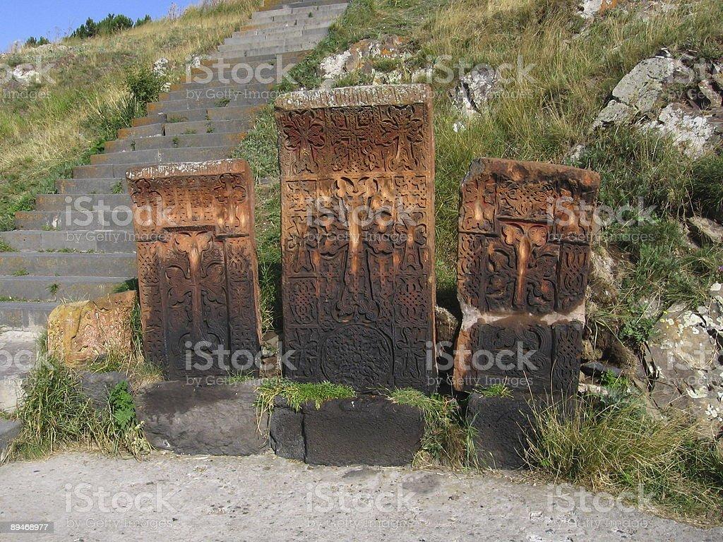 Cross stones stock photo