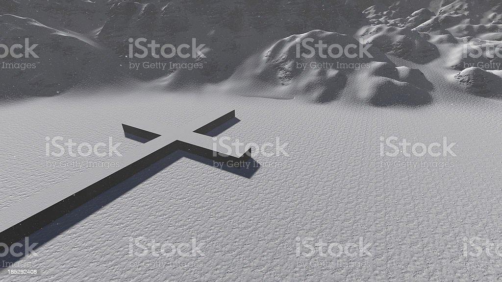 Cross Symbol In Snow royalty-free stock photo
