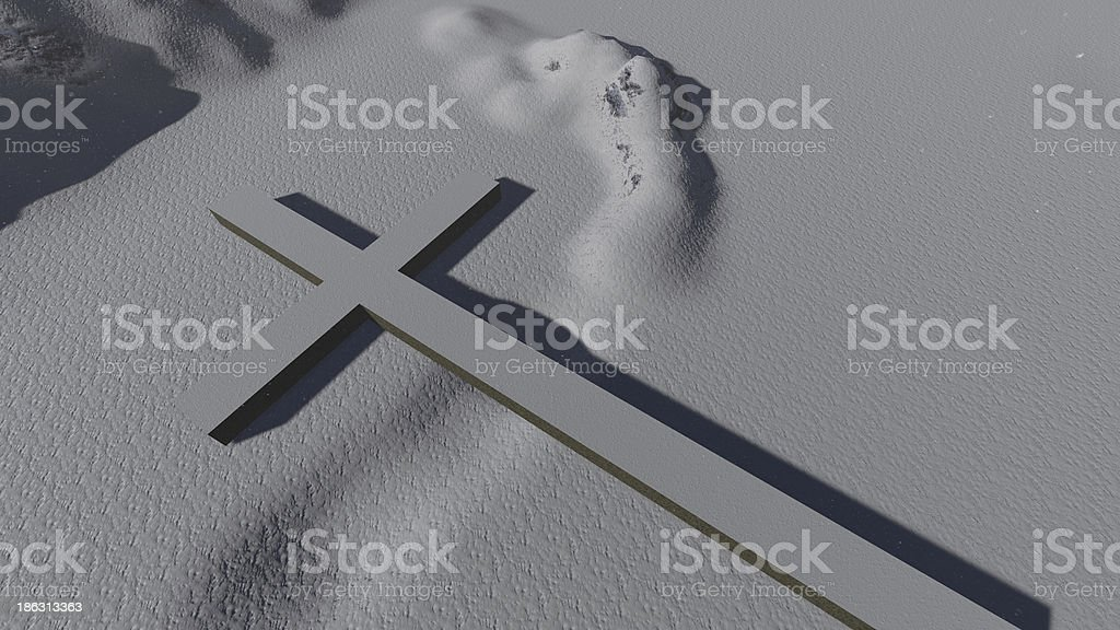Cross Symbol In Snow royalty-free stock photo
