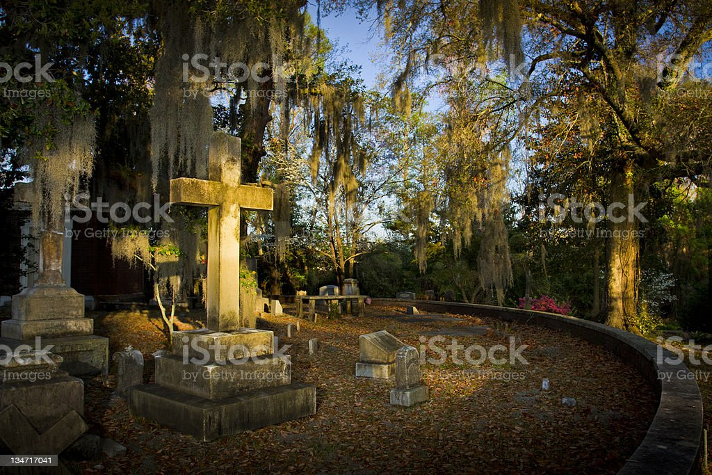 Cross Tombstone in Graveyard - WS stock photo