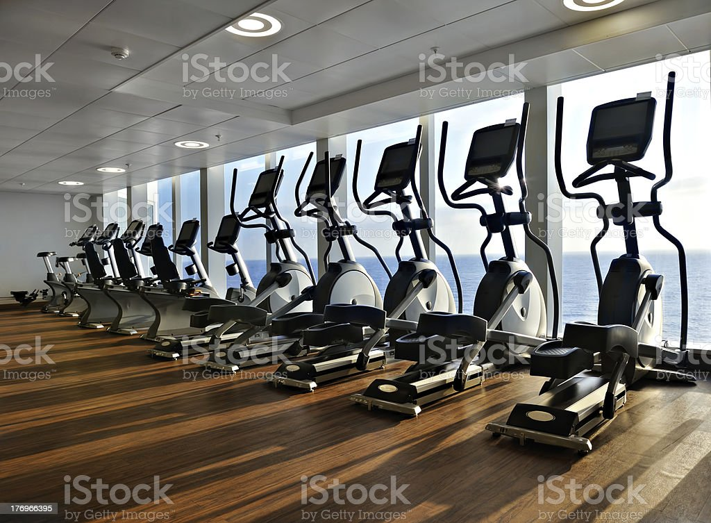 cross trainer in row with a view to the ocean stock photo