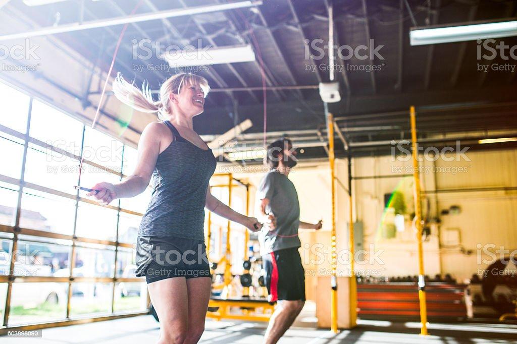Cross Training Couple Jump Ropes stock photo