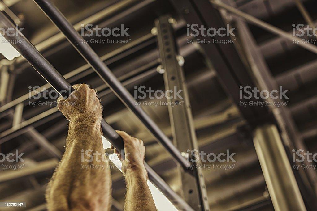 cross training on pullup bars royalty-free stock photo