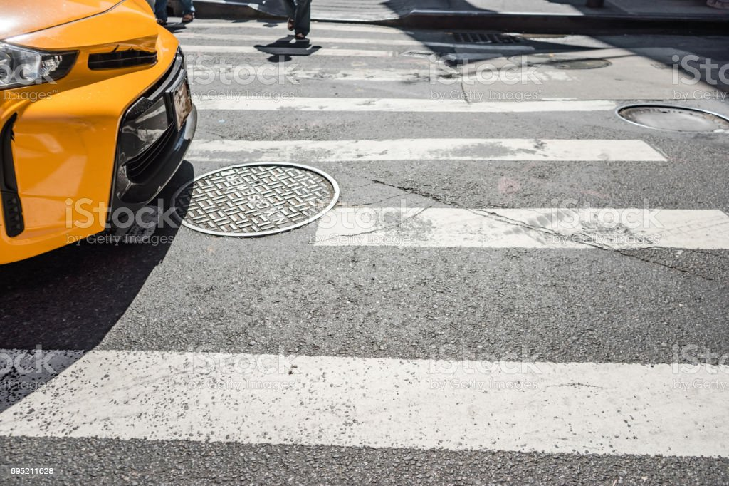 Cross walk, Fifth Avenue, New York City. stock photo