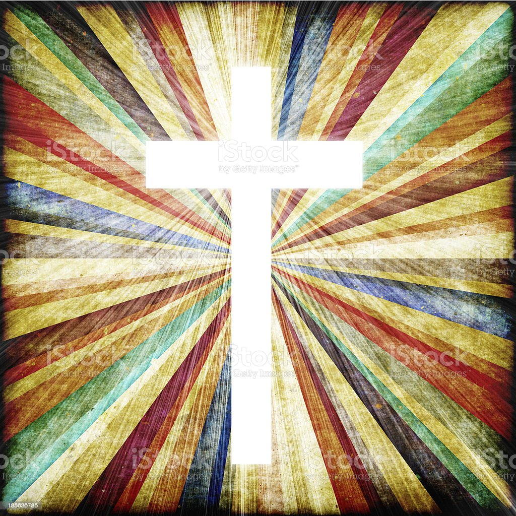 Cross with light shafts. Faith symbol. stock photo