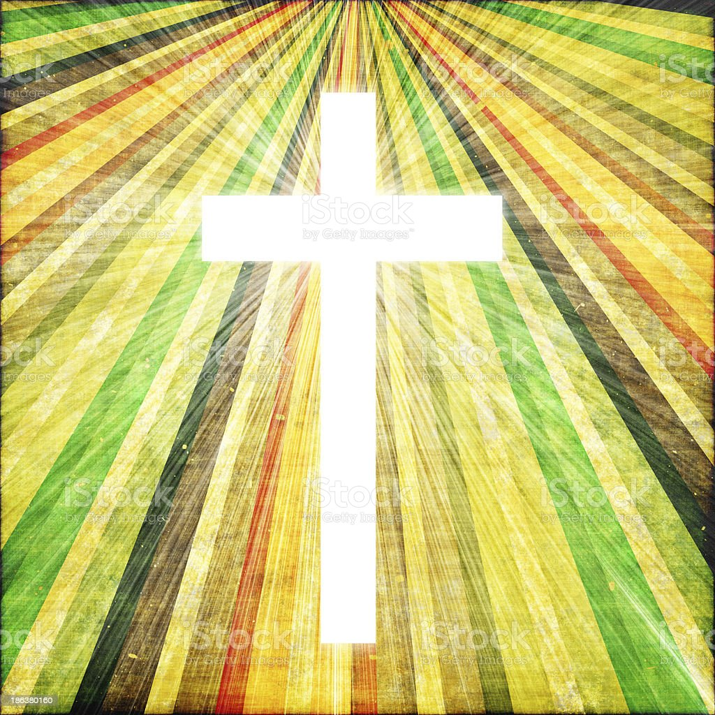 Cross with light shafts. Faith symbol. royalty-free stock photo