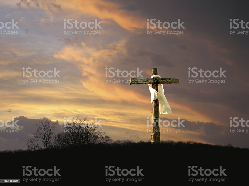 Cross with Sunrise stock photo