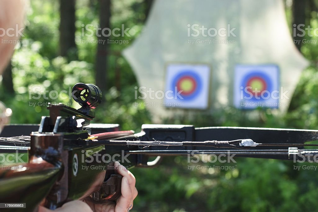 Crossbow shooting stock photo