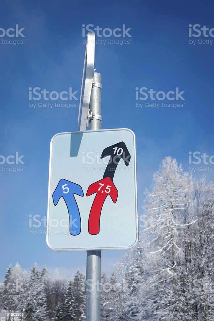 Cross-Country Running Informational Sign in Ski Resort Slovenia stock photo