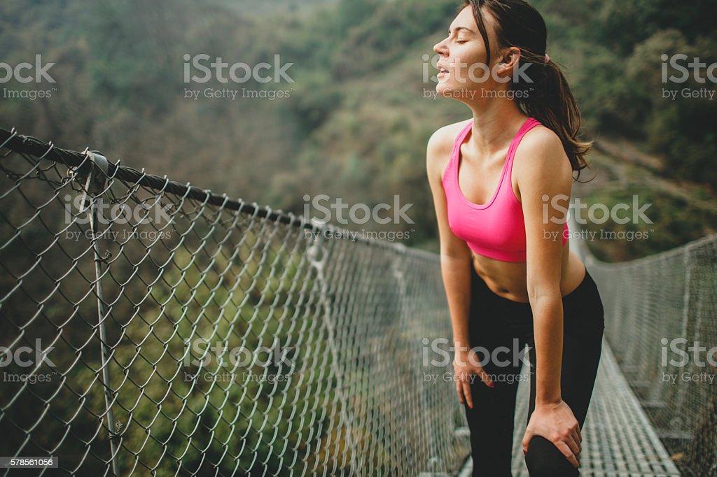 Cross-country running stock photo