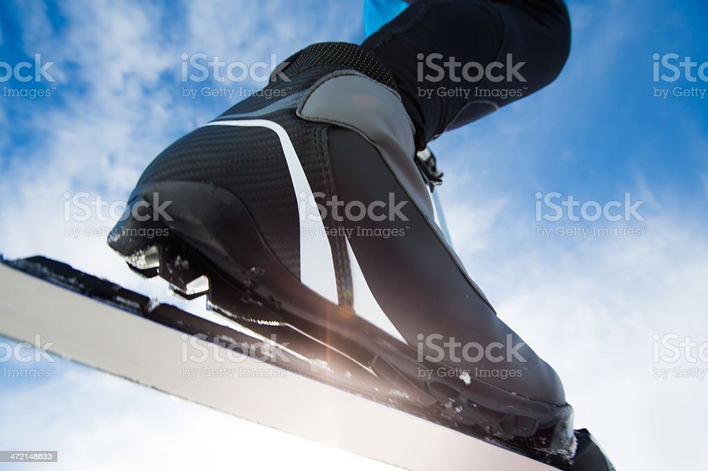 Cross-Country Ski Boot Close-up stock photo