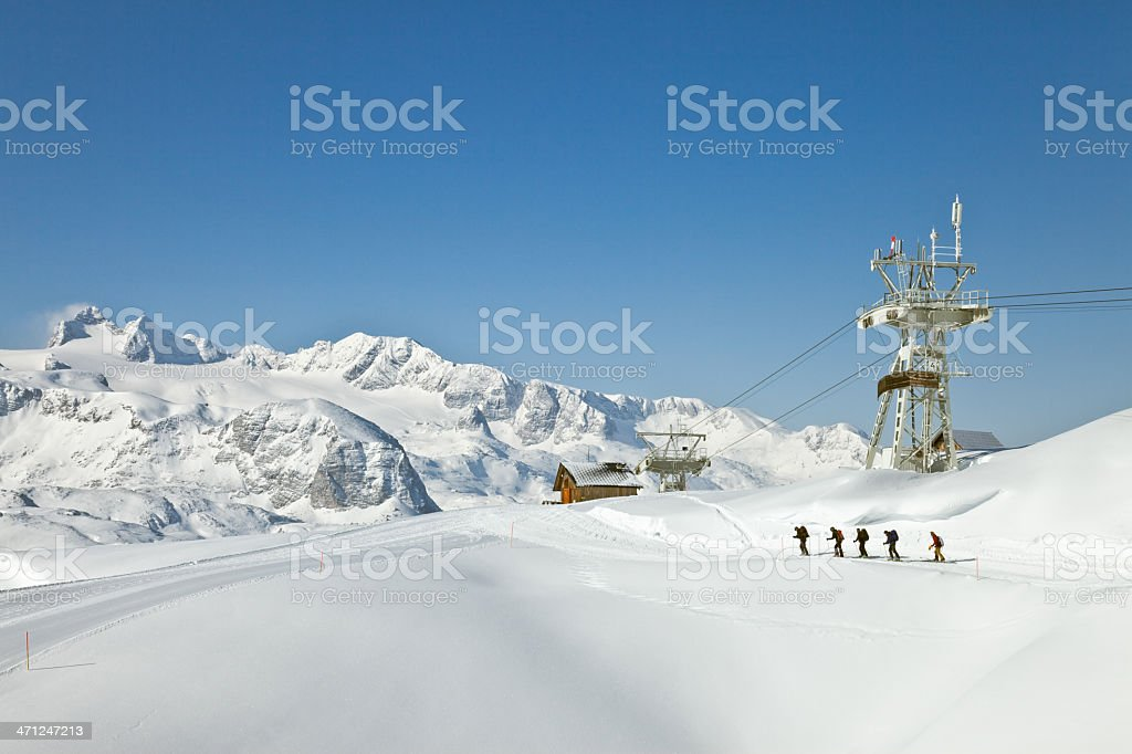 Cross-country ski in the Dachstein Mountains royalty-free stock photo