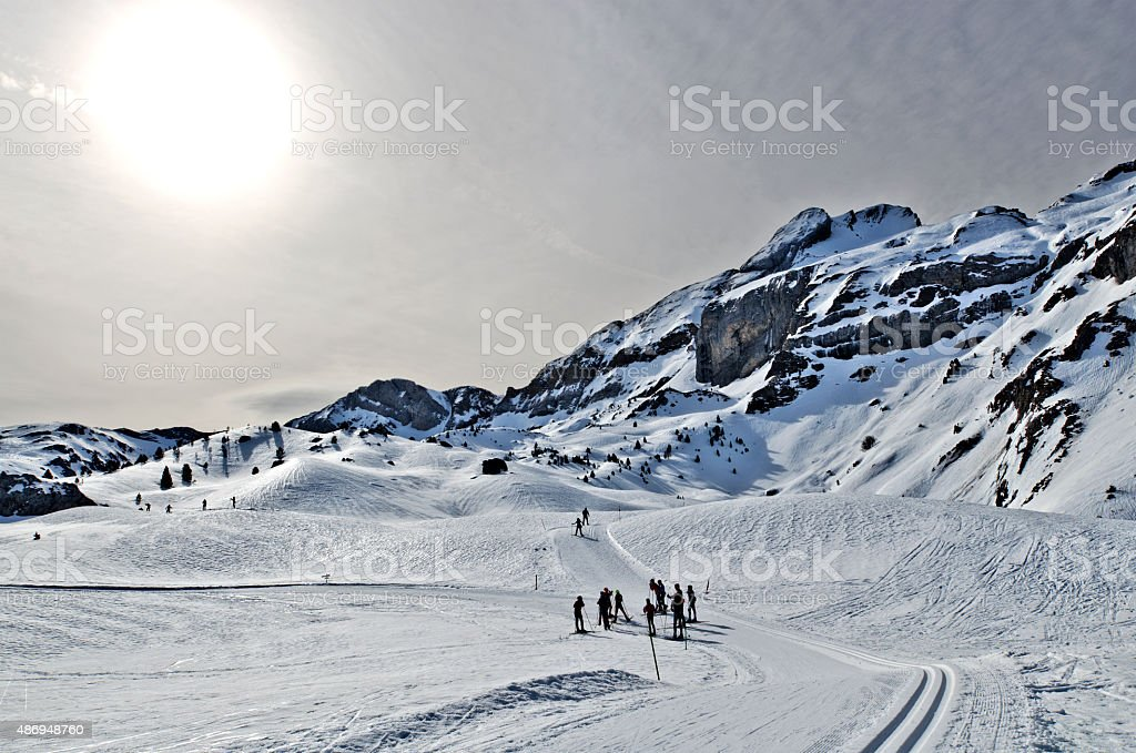 Cross-Country ski passes in Somport resort in Pyrenees stock photo