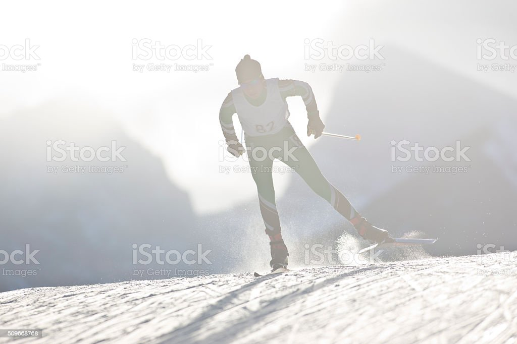 Cross-Country Ski Racer stock photo