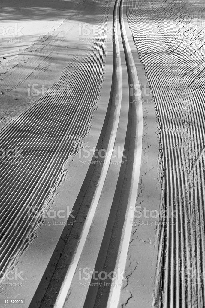 Cross-Country Ski Track in B&W royalty-free stock photo