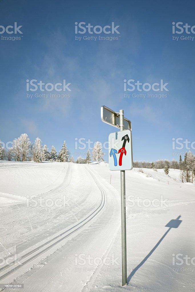 Cross-Country Ski Track in Vojsko Slovenia royalty-free stock photo